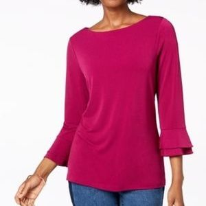 Layered-Sleeve Boat-Neck Top, Autumn Berry
